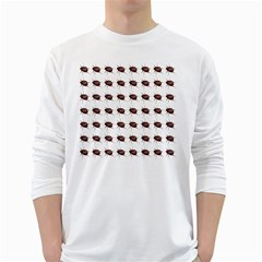 Insect Pattern White Long Sleeve T Shirts