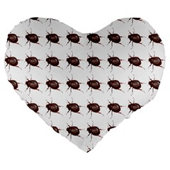 Insect Pattern Large 19  Premium Flano Heart Shape Cushions