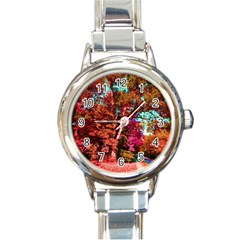 Abstract Fall Trees Saturated With Orange Pink And Turquoise Round Italian Charm Watch
