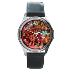 Abstract Fall Trees Saturated With Orange Pink And Turquoise Round Metal Watch
