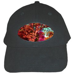 Abstract Fall Trees Saturated With Orange Pink And Turquoise Black Cap