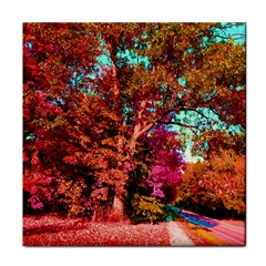 Abstract Fall Trees Saturated With Orange Pink And Turquoise Tile Coasters