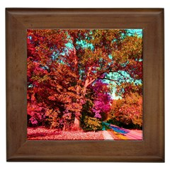 Abstract Fall Trees Saturated With Orange Pink And Turquoise Framed Tiles
