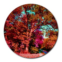 Abstract Fall Trees Saturated With Orange Pink And Turquoise Round Mousepads