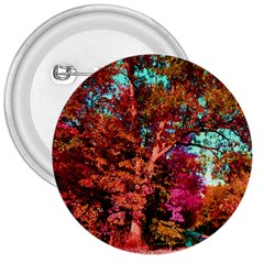 Abstract Fall Trees Saturated With Orange Pink And Turquoise 3  Buttons