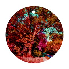 Abstract Fall Trees Saturated With Orange Pink And Turquoise Ornament (Round)
