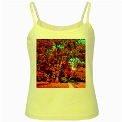Abstract Fall Trees Saturated With Orange Pink And Turquoise Yellow Spaghetti Tank