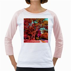 Abstract Fall Trees Saturated With Orange Pink And Turquoise Girly Raglans