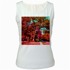 Abstract Fall Trees Saturated With Orange Pink And Turquoise Women s White Tank Top