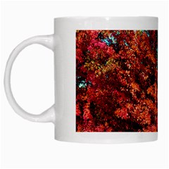 Abstract Fall Trees Saturated With Orange Pink And Turquoise White Mugs
