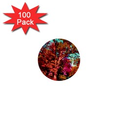 Abstract Fall Trees Saturated With Orange Pink And Turquoise 1  Mini Buttons (100 Pack)