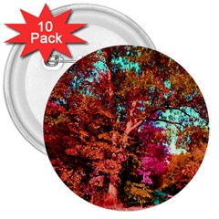 Abstract Fall Trees Saturated With Orange Pink And Turquoise 3  Buttons (10 pack)