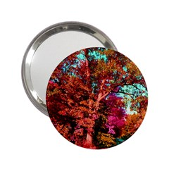 Abstract Fall Trees Saturated With Orange Pink And Turquoise 2 25  Handbag Mirrors