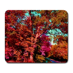 Abstract Fall Trees Saturated With Orange Pink And Turquoise Large Mousepads