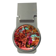 Abstract Fall Trees Saturated With Orange Pink And Turquoise Money Clips (Round)