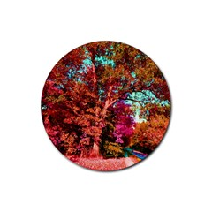 Abstract Fall Trees Saturated With Orange Pink And Turquoise Rubber Round Coaster (4 Pack)