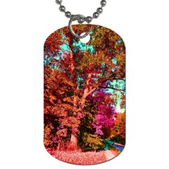 Abstract Fall Trees Saturated With Orange Pink And Turquoise Dog Tag (one Side)