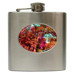 Abstract Fall Trees Saturated With Orange Pink And Turquoise Hip Flask (6 Oz)