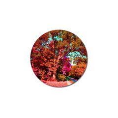 Abstract Fall Trees Saturated With Orange Pink And Turquoise Golf Ball Marker (4 Pack)