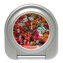 Abstract Fall Trees Saturated With Orange Pink And Turquoise Travel Alarm Clocks
