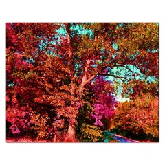 Abstract Fall Trees Saturated With Orange Pink And Turquoise Rectangular Jigsaw Puzzl