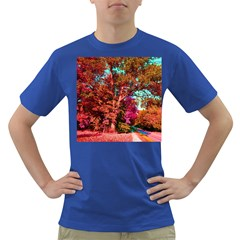 Abstract Fall Trees Saturated With Orange Pink And Turquoise Dark T-Shirt