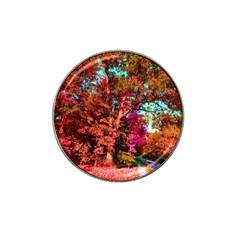 Abstract Fall Trees Saturated With Orange Pink And Turquoise Hat Clip Ball Marker