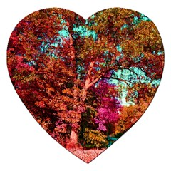 Abstract Fall Trees Saturated With Orange Pink And Turquoise Jigsaw Puzzle (Heart)