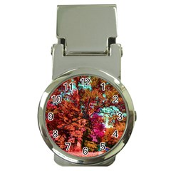 Abstract Fall Trees Saturated With Orange Pink And Turquoise Money Clip Watches