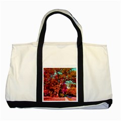 Abstract Fall Trees Saturated With Orange Pink And Turquoise Two Tone Tote Bag