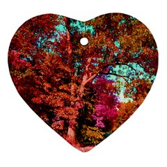 Abstract Fall Trees Saturated With Orange Pink And Turquoise Heart Ornament (two Sides)