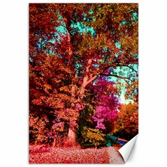 Abstract Fall Trees Saturated With Orange Pink And Turquoise Canvas 12  X 18