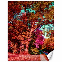 Abstract Fall Trees Saturated With Orange Pink And Turquoise Canvas 18  x 24
