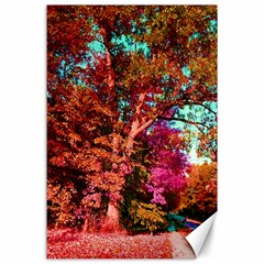 Abstract Fall Trees Saturated With Orange Pink And Turquoise Canvas 24  X 36