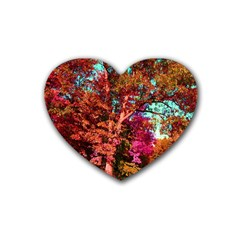 Abstract Fall Trees Saturated With Orange Pink And Turquoise Heart Coaster (4 pack)