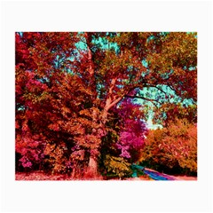 Abstract Fall Trees Saturated With Orange Pink And Turquoise Small Glasses Cloth (2-Side)