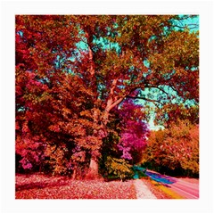 Abstract Fall Trees Saturated With Orange Pink And Turquoise Medium Glasses Cloth