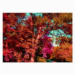 Abstract Fall Trees Saturated With Orange Pink And Turquoise Large Glasses Cloth (2-Side)
