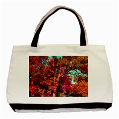 Abstract Fall Trees Saturated With Orange Pink And Turquoise Basic Tote Bag (Two Sides)