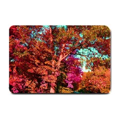 Abstract Fall Trees Saturated With Orange Pink And Turquoise Small Doormat