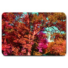 Abstract Fall Trees Saturated With Orange Pink And Turquoise Large Doormat