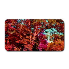 Abstract Fall Trees Saturated With Orange Pink And Turquoise Medium Bar Mats
