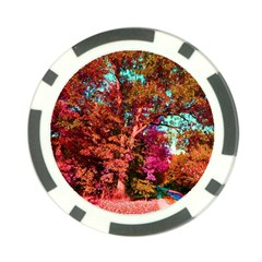Abstract Fall Trees Saturated With Orange Pink And Turquoise Poker Chip Card Guard