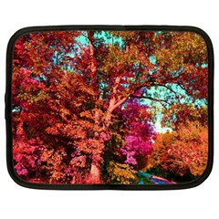 Abstract Fall Trees Saturated With Orange Pink And Turquoise Netbook Case (large)