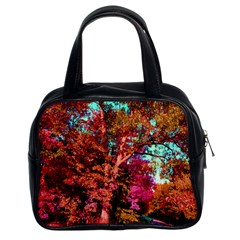 Abstract Fall Trees Saturated With Orange Pink And Turquoise Classic Handbags (2 Sides)
