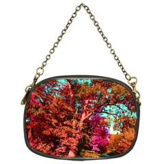 Abstract Fall Trees Saturated With Orange Pink And Turquoise Chain Purses (One Side)