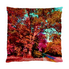 Abstract Fall Trees Saturated With Orange Pink And Turquoise Standard Cushion Case (one Side)