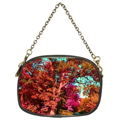 Abstract Fall Trees Saturated With Orange Pink And Turquoise Chain Purses (two Sides)