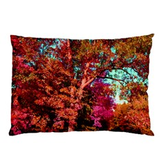 Abstract Fall Trees Saturated With Orange Pink And Turquoise Pillow Case