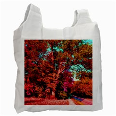 Abstract Fall Trees Saturated With Orange Pink And Turquoise Recycle Bag (One Side)